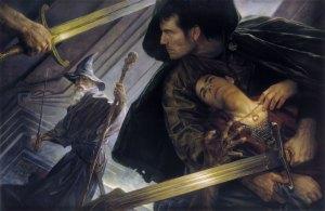 Aragorn recoge a Frodo, según Donato Giancola