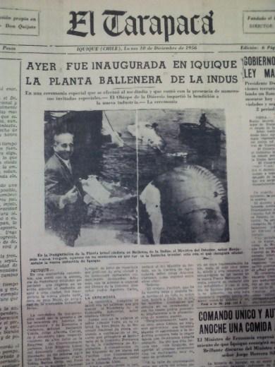 El 10 de diciembre de 1956, se informa de la inauguración de la antigua ballenera de Iquique (Foto: Hemeroteca M.R.I)
