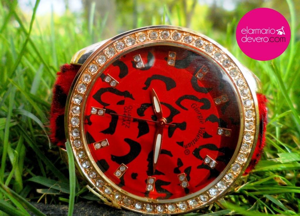 Reloj leopardo negro y rojo
