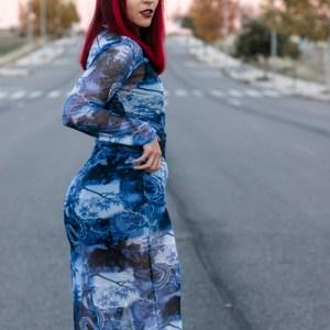 LONG BLUE DRAGON DRESS