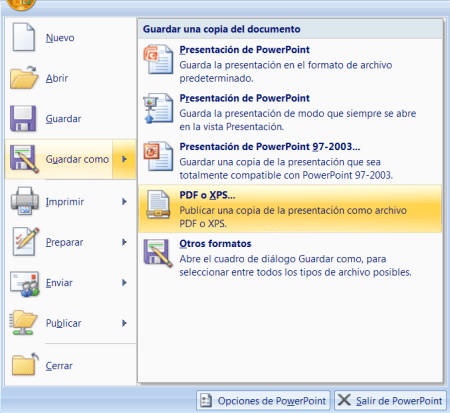 Guardar como PDF o XPS