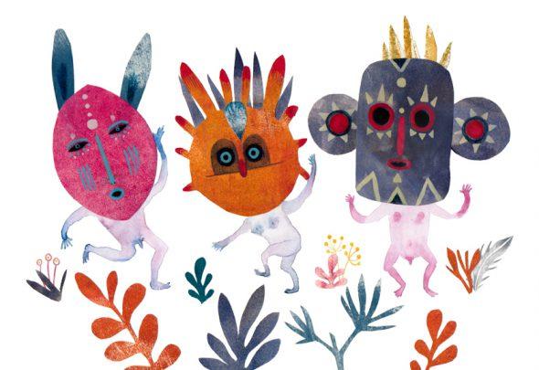 Ilustración original de Adolfo Serra de la serie Niños Salvajes.