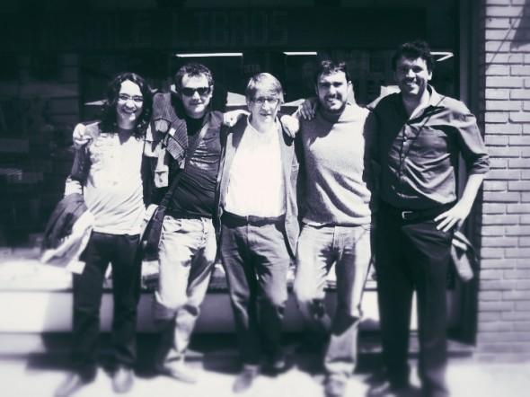 Equipo fundacional de la editorial AlRevés,  de izquierda a derecha:  Marc Pichart, Roger Clanchet, Josep Forment, Ilya Pérdigo, Gregori Dolz.