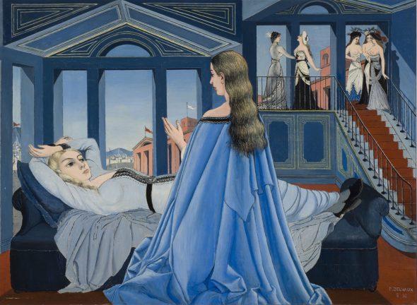 Paul Delvaux. 'La Anunciación', 1955 (L ́Annonciation) Óleo sobre multiplex. 110 x 150 cm Musée des Beaux-Arts de Charleroi