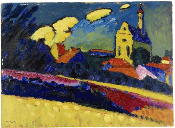 Wassily Kandinsky (1866–1944); Studie zu Murnau - Landschaft mit Kirche; 1909. Depósito permanente en el Kunstmuseum Basel.