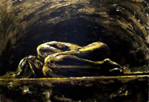 """""""Agujero Negro"""" se llama esta pieza de la artista siria Fadia Affash. En ella muestra el sufrimiento de las mujeres en el conflicto con un cuerpo lleno de heridas. Foto: Syria Untold."""
