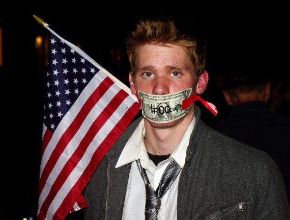 Uno de los participantes en Occupy Wall Street. Foto: David Shankbone / Flickr Creative Commons.