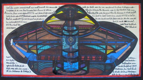 Lonel. U.F.O. [Ovni], 2013 Lápiz sobre papel 76 x 147 cm American Primitive Gallery