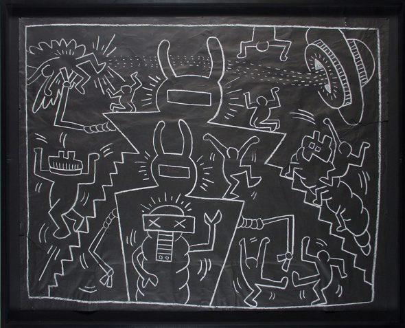 Keith Haring. 'Untitled [Sin título]', 1985. Tiza sobre papel. 116,8 x 153 cm. Colección particular, cortesía de la Galería Tony Shafrazy, Nueva York.
