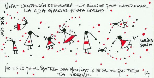 Relato en forma de ilustración y micropoema de María Sorín y Ajo.