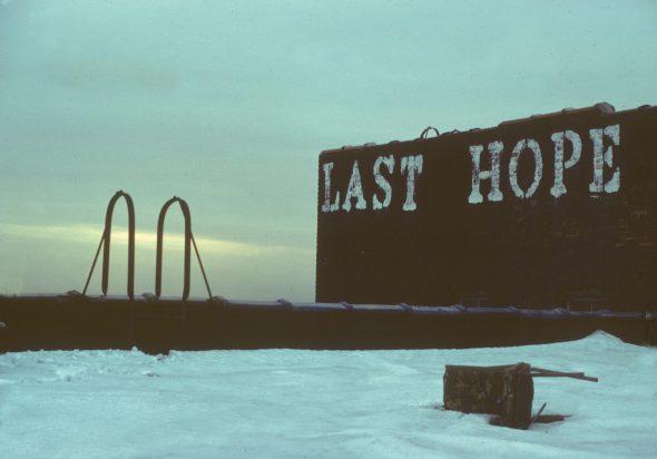 """Pintada en una azotea de Nueva York. """"La última esperanza"""". Fotografía:"""