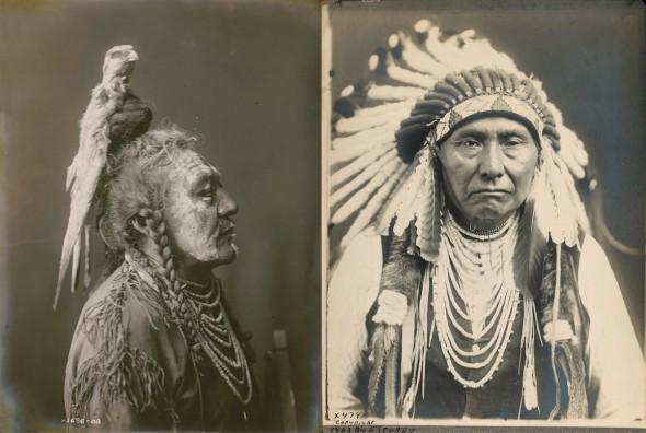 Dos fotografías de Edward S. Curtis de principios de 1900. Biblioteca del Congreso. Washington D. C.