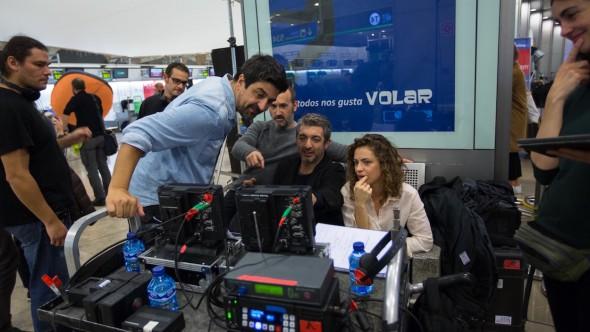 Cesc Gay, Javier Cámara y Ricardo Darín, durante el rodaje de 'Truman'.