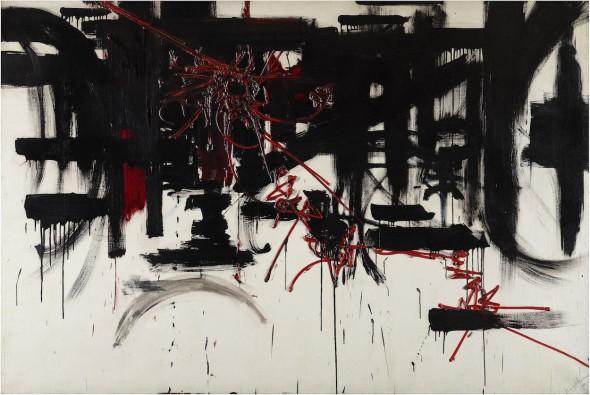 Georges Mathieu Composition [Composición], 1951 Óleo sobre lienzo, 128,5 x 196 cm Fondation Gandur pour l'Art, Ginebra © Fondation Gandur pour l'Art, Ginebra. Foto: Sandra Pointet