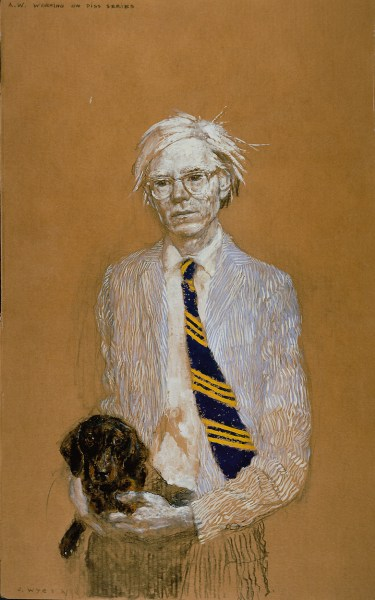Jamie Wyeth. Andy Warhol trabajando en la serie Pis', 2007. The Phyllis and Jamie Wyeth Collection.