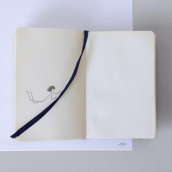 Monigote y los cuadernos.