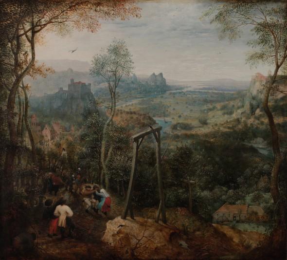 La Urraca sobre el cadalso de Pieter Brueghel. Una de las obras emblemáticas de la muestra Tratado de Paz.