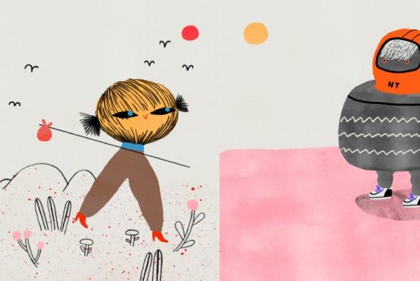 A la izquierda, la señorita espantapájaras y, a la derecha, Neuman Tikín. Ilustraciones: María Ramos.