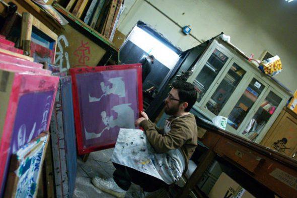 Estudio de serigrafía del artista Julio Cubillos.