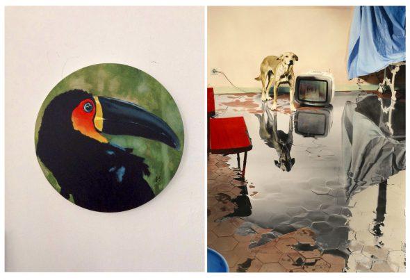 A la izquierda: Jorge Suberviola. 'Cuando todo era verde'. Acrílico sobre lienzo circular. A la derecha: Ouka Leele. 'Me levanto por la mañana', Fotografía.