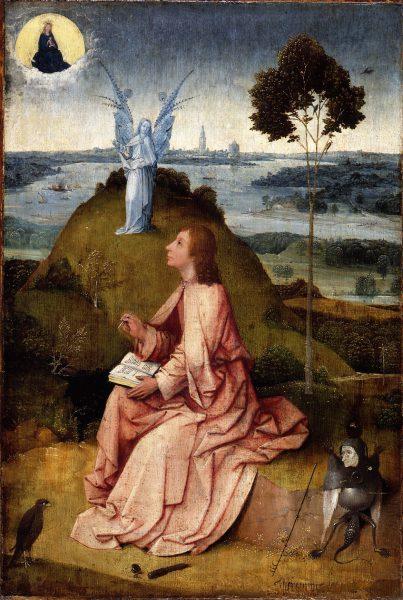 San Juan Evangelista en Patmos / La Pasión de Cristo. El Bosco. Berlín, Staatliche Museen zu Berlin, Gemäldegalerie