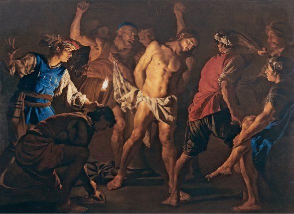 Matthias Stom (?), hacia 1600 – Italia septentrional (?), posterior a 1649 La flagelación de Cristo, hacia 1640 The Flagellation of Christ Óleo sobre lienzo. 201 x 271 cm Collezione Koelliker