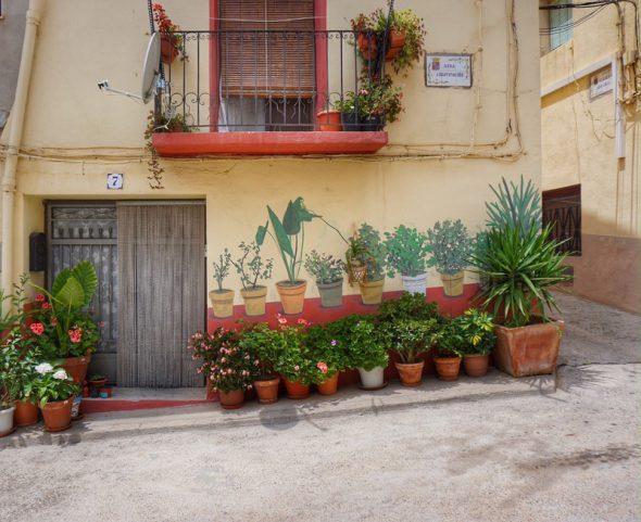Macetas a la entrada de una de las casas de Fanzara. Foto: Manuel Cuéllar.