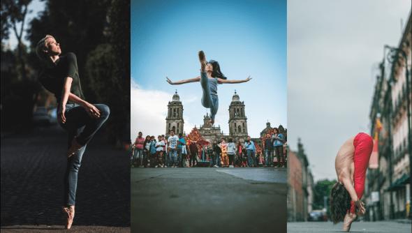 Tres bailarinas en tres localizaciones distintas de la ciudad de México.