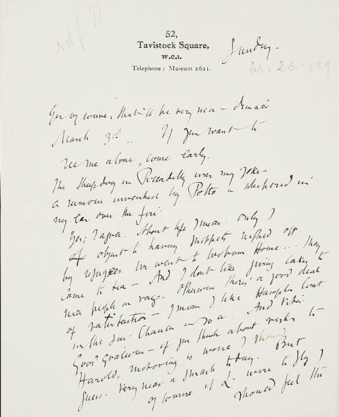 Una de las cartas de Virginia Woolf.