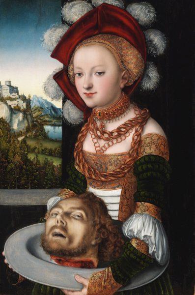 Lucas Cranach el Viejo. 'Salomé con la cabeza de San Juan Bautista', hacia 1526-1530. Budapest, Museo de Bellas Artes