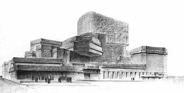 Perspectiva a mano alzada del proyecto presentado para le concurso para una ópera en Madrid en 1962. Foto: Cortesía Fundación Barrié.