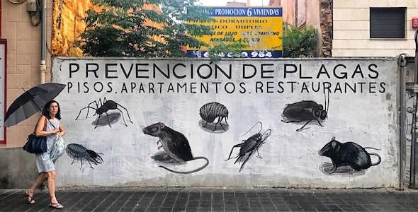 Obra del artista urbano Escif en Valencia en la que compara a los turistas con otras plagas. Foto: Manuel Cuéllar.