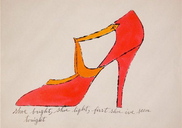 Ilustración de zapatos de tacón de Andy Warhol.
