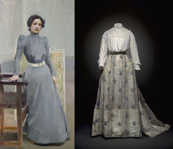 A la izquierda, Clotilde con traje gris, 1900. Joaquín Sorolla y Bastida. Museo Sorolla, Madrid. A la derecha, blusa y falda, hacia 1900-1914. Centre de Documentació y Museu Textil, Terrasa.