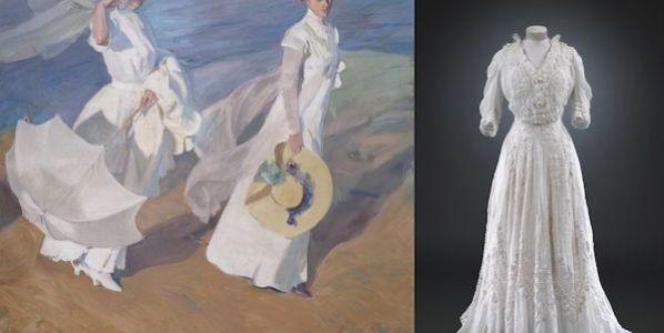 A la izquierda, el cuadro 'Paseo a la orilla del mar' de 1909 de Joaquín Sorolla y Bastida. Fundación Museo Sorolla, Madrid. A la derecha, vestido de día, 1904-1908. Algodón y encaje. Victoria and Albert Museum, Londres.