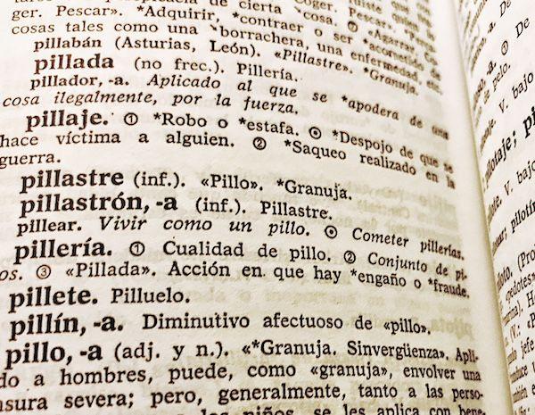 Entradas del Diccionario de uso del Español de María Moliner.