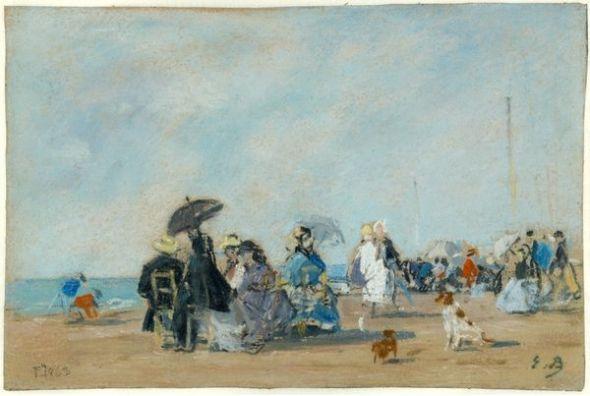 Eugène Boudin En la playa de Trouville, 1863 (Sur la plage de Trouville) (On the Beach at Trouville) Pastel sobre papel. 185 x 285 mm Colección privada