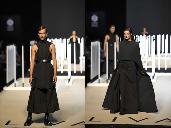 Transparencias, vuelos y propuestas andróginas en el desfile de Juanjo Oliva en la Semana de la Moda de Madrid.