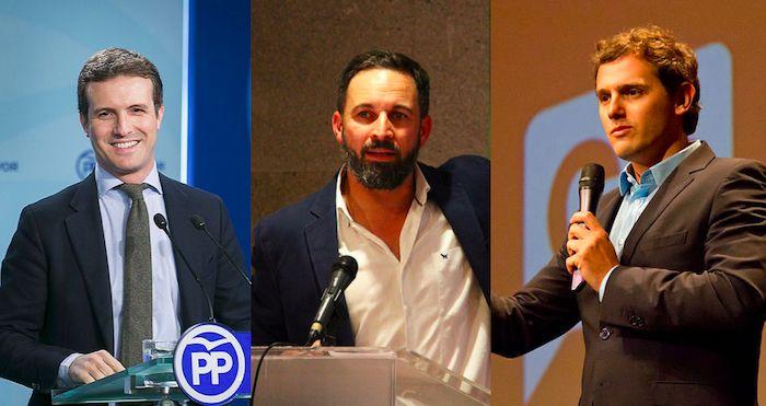 Casado, Abascal y Rivera convocaron y posaron juntos en la manifestación de la derecha en Colón.