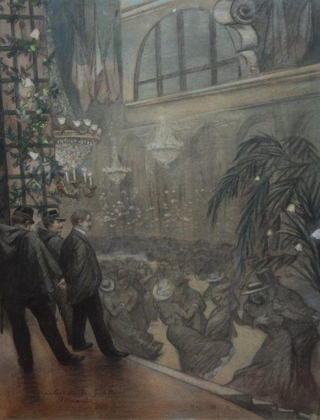 Henri de Toulouse-Lautrec (1864-1901), En el Moulin Rouge. La unión franco-rusa, Ilustración en la revista L'Escarmouche. Colección particular.