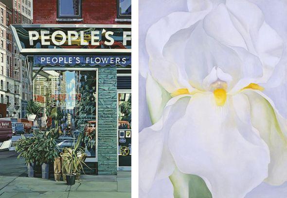A la izquierda, 'People's Flowers' de Richard Estes. Ala derecha, 'Lirio blanco, número 7' deGeorgia O'Keeffe. Ambos cuadros del Museo Nacional Thyssen Bornemisza.