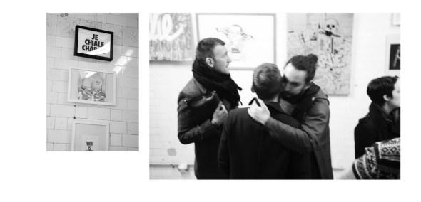 Obras y visitantes a la exposición 'Charlie Hexpo : L'Art contre la Haine'. Foto: Nacym Bouras.