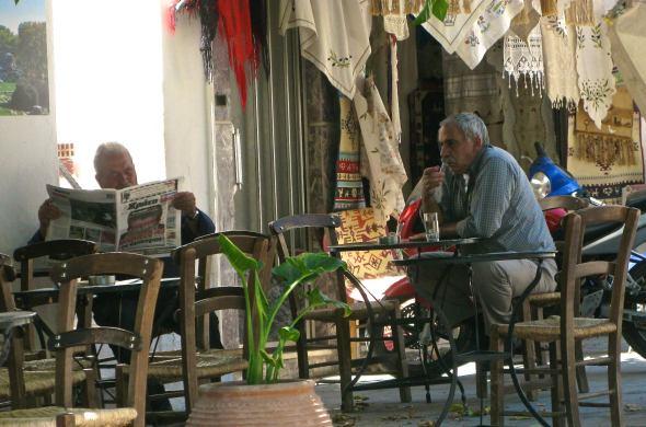 Café de media mañana en Creta. Foto: Ana Estéban.