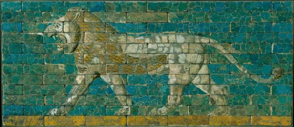 Panel con león. Mesopotamia, Babilonia (Hillah, Iraq) 604–562 A.C.