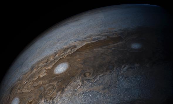 El planeta Júpiter fotografiado por la sonda Juno. Foto: NASA.