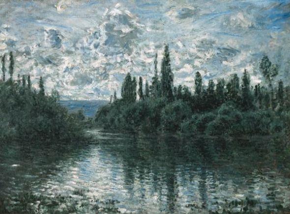 Claude Monet Brazo del Sena cerca de Vétheuil, 1878 (Bras de la Seine près de Vétheuil) (Arm of the Seine near Vétheuil) Óleo sobre lienzo. 60 x 80 cm Colección Pérez Simón, México