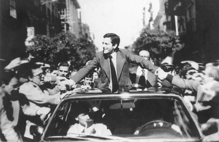 El expresidente Adolfo Suárez en la portada del libro 'La Transición. Historia y Relatos'.