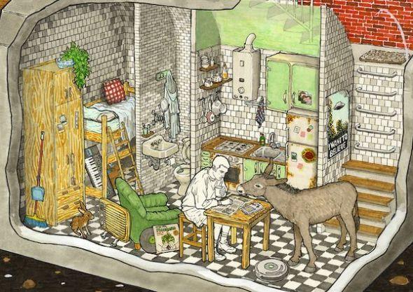 Ilustración de Gorka Olmo para su libro 'Cosas dentro de otras' editado por Paripé Books.