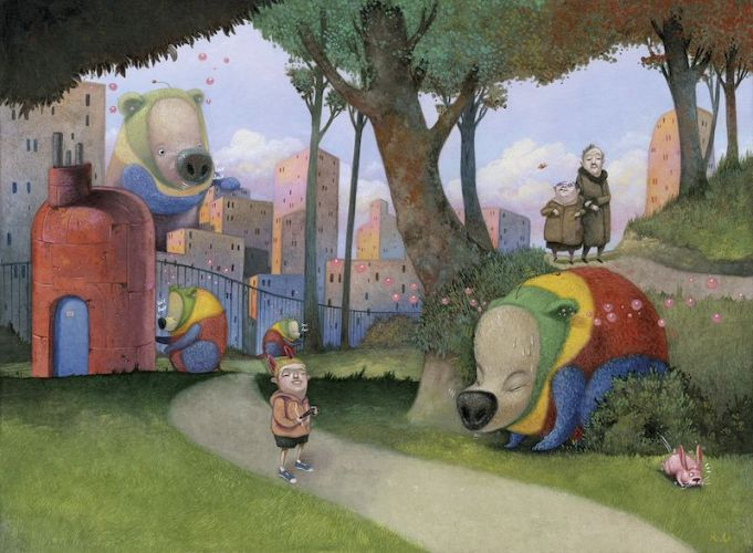 Una ilustración del libro 'Chester, el oso extraterrestre' de Roger Olmos.