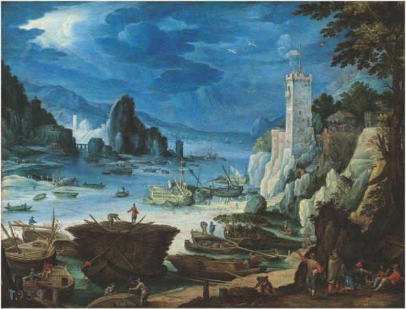 'Puerto con castillo' (hacia 1601). Paul Bril.